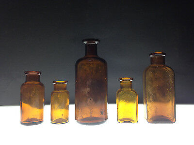 vintage/antique brown glass bottles Lot of 5 round and rectangle