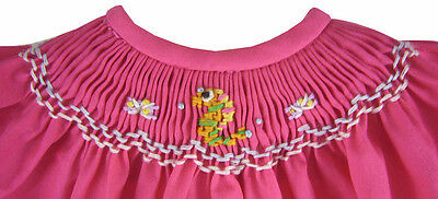 Dark Pink Hand-Smocked Dress w/ Seahorse & Bloomers for Bitty Baby Doll Clothes