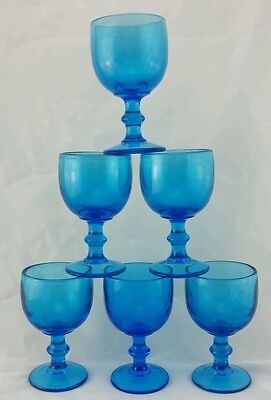 6 Stunning Vintage Blue Glass Goblets! Thick & Heavy! Well Made!