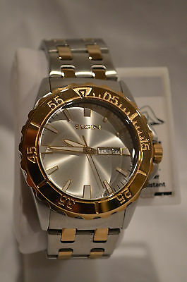 NEW Elgin FG7096 Men's Silver And Gold Tone Round Analog Day Date Watch