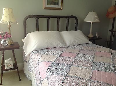 Vintage style patchwork quilt Full/Queen white, ecru, rose, lavender, blue print