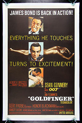 GOLDFINGER * CineMasterpieces ORIGINAL MOVIE POSTER 1964 JAMES BOND 007 GOLD