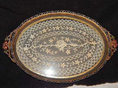 ANTIQUE  VICTORIAN FRENCH BRONZE ART DECO OVAL VANITY TRAY W / LACE & ENAMEL