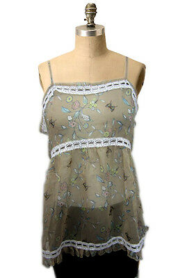 NWOT Dra Clothing Colorful Butterfly Floral Crochet Trim Boho Stunning Top Sz S
