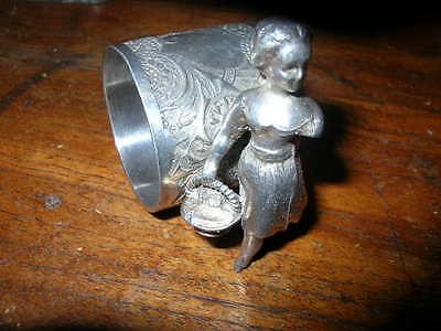 LITTLE RED RIDING HOOD?? girl/ basket silver/silverplate figural napkin ring 734