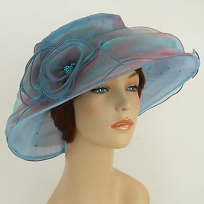 New Church Kentucky Derby Wedding  Party Organza  Dress Hat 3188 Turquoise