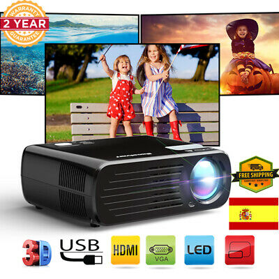 1080P HD E08 LCD+LED PROYECTOR HDMI SD USB VGA TEATRO PR iOS ANDROID MÓVIL TABLE