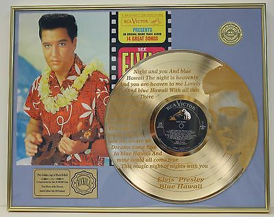 "ELVIS PRESLEY CUSTOM FRAMED  LTD EDITION ""BLUE HAWAII"" LP DISPLAY ETCHED GOLD"