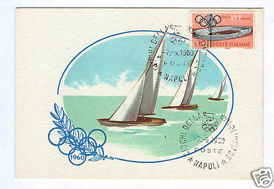 1960 Rome Olympic Games, Yachting postcard with Olympic stamp & frank