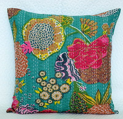 """16"""" INDIAN GREEN CUSHION PILLOW COVERS Kantha Thread Work Ethnic Vintage Art"""