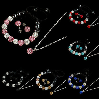 10MM Crystal Ball Jewelry Shamballa Bracelet Earrings Necklace Set New Salable