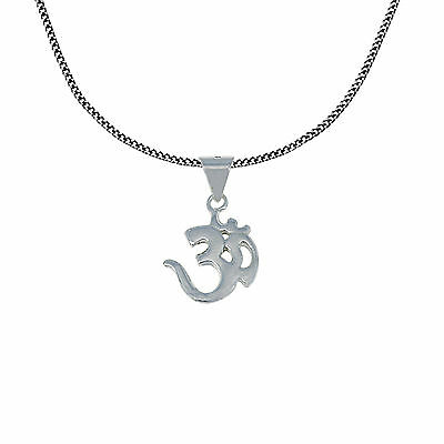OM Pendant and Chain Hindu 925 Sterling Silver Religious Jewellery