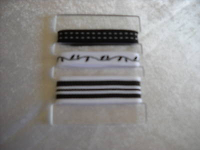 Set  of 3 NEW black and white cotton cloth accent ribbons, mixed lot