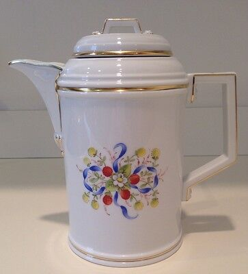 Hochst Hand-Painted Porcelain Strawberries & Bows Coffee Pot Made In Germany New