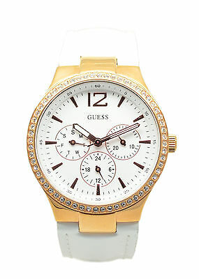 Ladies Guess Chrono Rose Gold Case White Leather Strap W13556L1