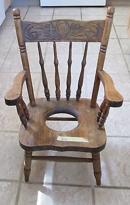 """Antique Childrens Wooden Potty Chair Early 1900s Solid Training Seat 25-3/4""""tall"""