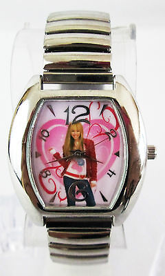Disney Womens White Dial Hanna Montana Silver-tone SSteel Expansion Watch HHM413