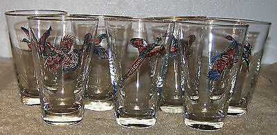 """SEVEN USED"""" LIBBEY"""" GAME BIRD GLASSES"""