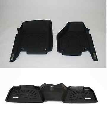 Wade Floor Mats 1st & 2nd Row in Black for a Ford F150 Super Crew 2012 - 2014