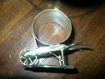 antique WHEELBARROW silver/silverplate figural napkin ring/holder Tufts 1537 EXC