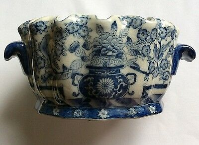 Asian Blue and White Porcelain Large Fish Bowl with mark