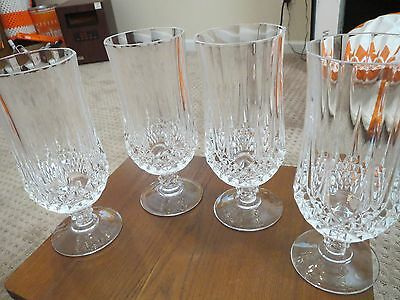4 CRISTAL D' ARQUES DURAND LONGCHAMP footed ice tea / water glasses