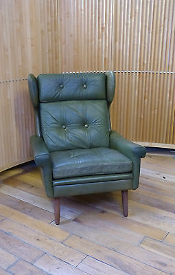 DANISH 60s GREEN LEATHER ARMCHAIR BY SKIPPERS Danish 50s 60s 70s retro