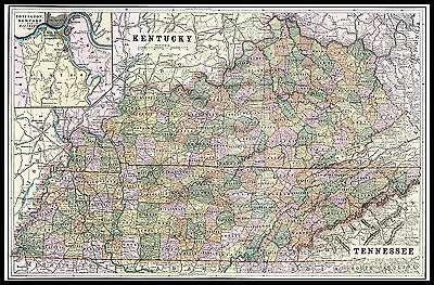 Large Kentucky & Tennessee 1893 original color lithograph U.S. State map