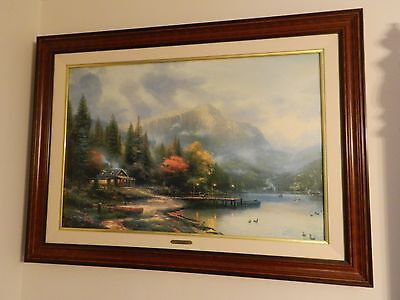 Framed Thomas Kinkade- The End of a Perfect Day III 1995 /CANVAS/DOUBLE SIGNED