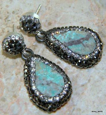 "NATURAL AMAZONITE  925 STERLING  SILVER  EARRINGS 1 3/8"" L"