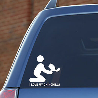 I Love My Chinchilla with person - Vinyl Decal - FREE S&H