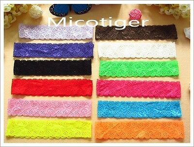 12 colors Baby Stretch silk lace Headband Elastic hair band For Hair Accessories
