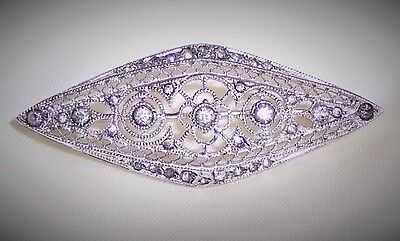 VINTAGE BROOCH STERLING SILVER AND BRILLIANT RHINESTONES SIGNED OTIS