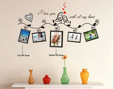 Love Birds Photo Frame Removable Vinyl Art Wall Sticker Decal Mural Home Decors