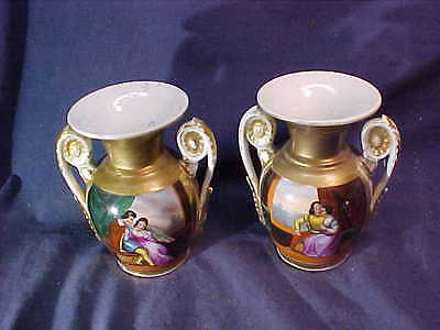 2-Early 1800s FRENCH HAND PAINTED Porcelain VASES w COURTING SCENES