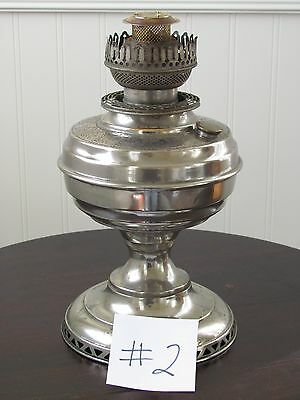 "Antique P&A RARE ""Banner Electric"" Nickel Embossed Oil Lamp, Circa 1890"