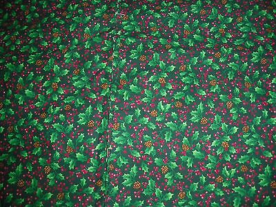 "Material/Fabric 1 yd 13"" x 44"" SMALL HOLLY & PINE CONES Green Cotton VIP PRINT"