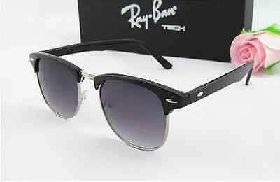 Black Silver Rim Clubmaster Sunglasses Retro Vintage 80's Men's Women's ON SALE