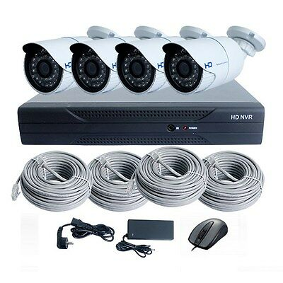 4CH Plug&Play 1080P POE NVR System with 4*720P POE IP Bullet Camera, Free Cable
