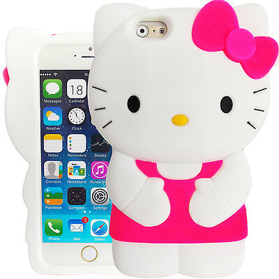 3D Hot Pink Hello Kitty Case for iPhone 6 Plus 5.5 Cute Silicone Bow Cover