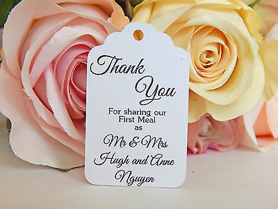 Personalised Thank you for sharing our first meal wedding tags! 10,20,50,80 100