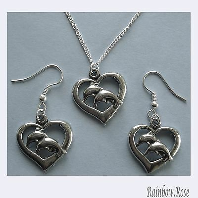 Earrings & Chain Necklace #237 Pewter DOLPHINS HEART (20mm x 21mm) Silver Tone