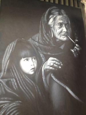 Grand Mother And Grand Child - Oil on canvas handmade painting size 60x80cm