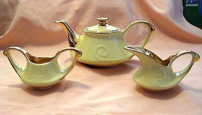 Mid Century Pearl China Co Hand Decorated 22K Gold Tea Set Teapot Creamer Sugar