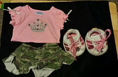 Build-a-Bear Workshop BABW Camouflage Skirt Pink Shirt and Skechers Outfit CUTE!