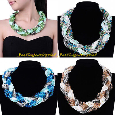 New Fashion Silver Metal Resin Crystal Pearl Beads Chain Statement Bib Necklace
