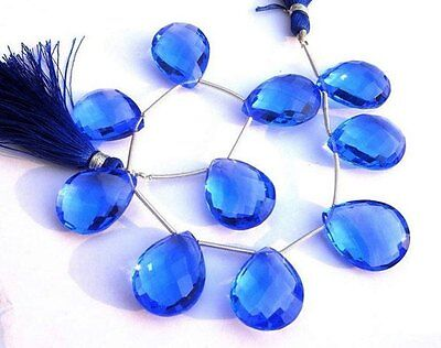 AAA Blue Quarts Fancy Faceted Pear Briolette Beads 12x15 mm 8 Inch Strand