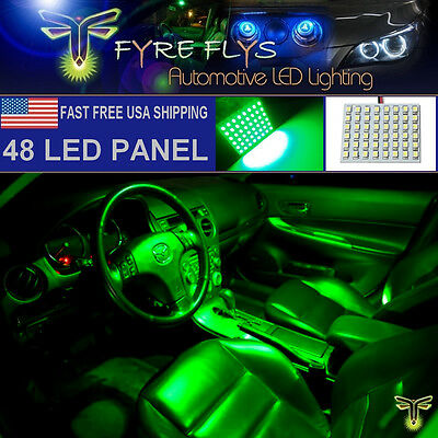1x Super Bright Green 48 LED Panel Light for Dome, Map, Cargo Trunk lights #48PG