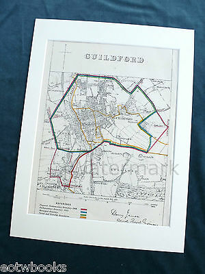 GUILDFORD - Antique Map / Plan, in mount,  Boundary Commissioners Report - 1868