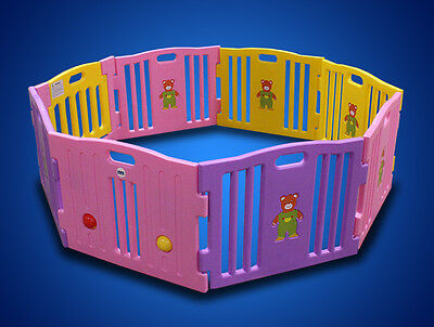 New Pink 8 Panel Baby Playpen Kids Safety Play Center Yard Home Indoor Girls